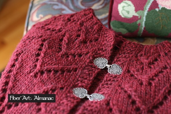 Lace yoke cardigan sweater