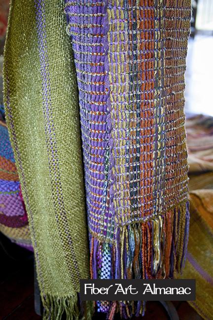 Sharon Hoiland weaves with knitting yarn