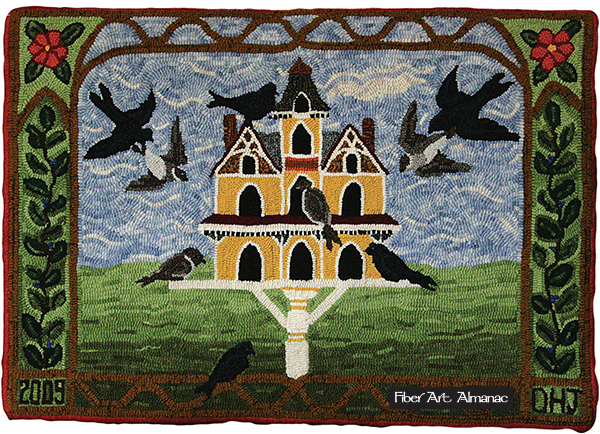 Birdhouse designed by Pat Hornafius. Hooked by Debbie Hjelm Johnson.
