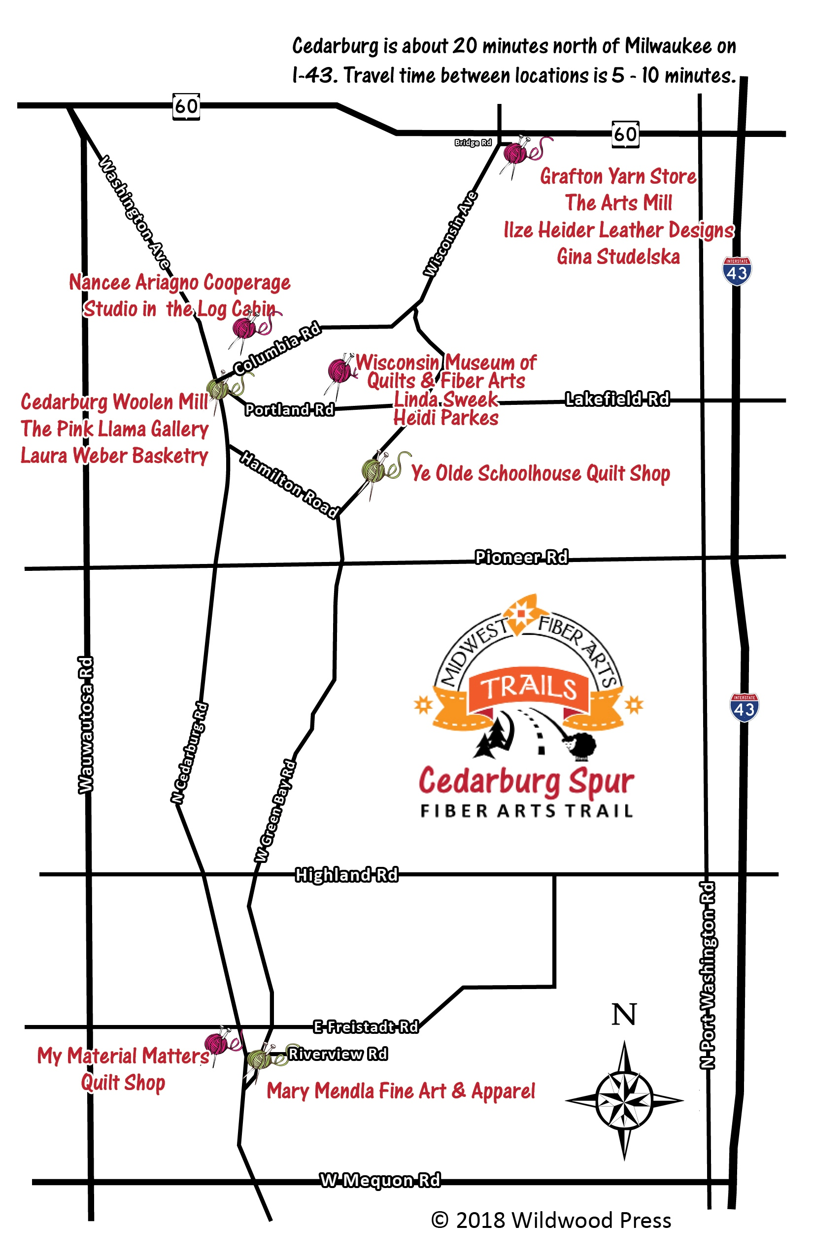 Cedarburg Wisconsin Map.Cedarburg Spur Fiber Arts Trail 5th Anniversary Tour Midwest